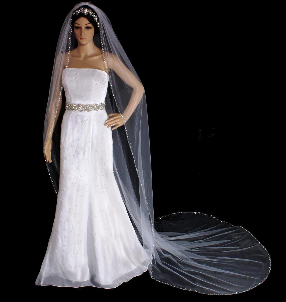 Beautiful And Affordable Veil Crystal Rhinestone Beaded Edge Cathedral Length Wedding V3105C