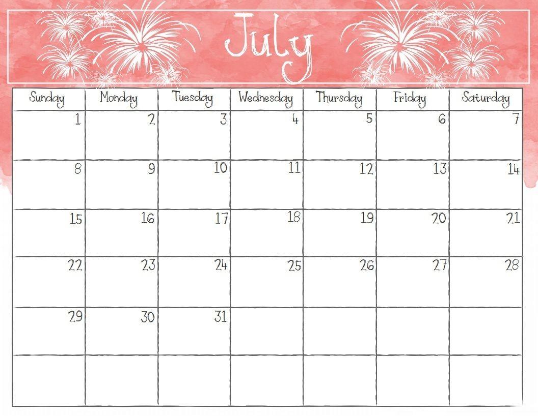 Pin By Printable Calendar On July Calendar Template