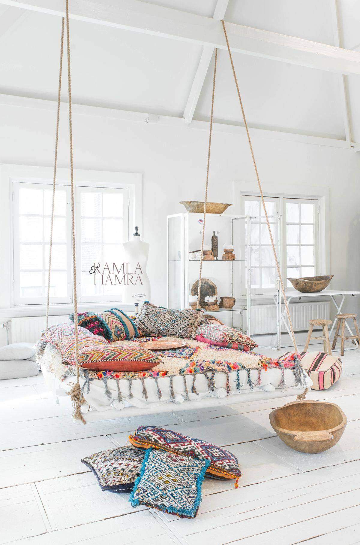 room white furniture living hammock macrame patina