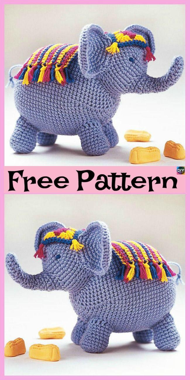 10 Crochet & Knit Amigurumi Elephant Free Patterns en 2018 | Crochet ...