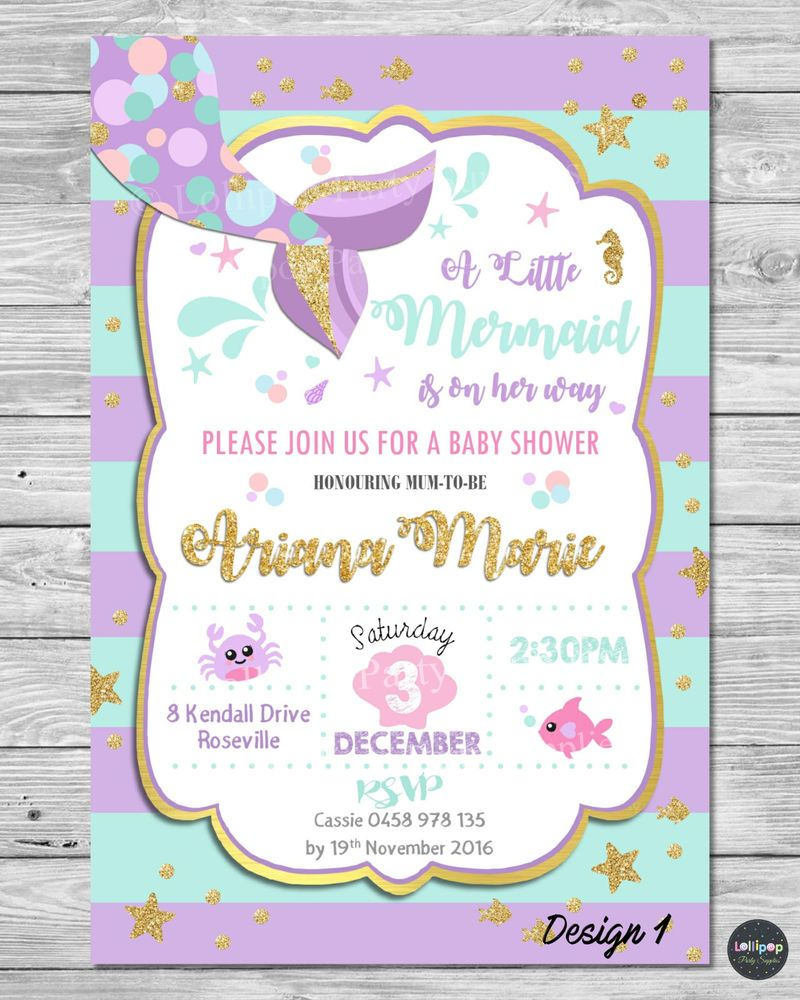 Mermaid Baby Shower Invitations Party Supplies Invite Gold Turquoise