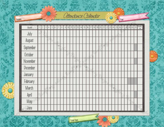 Homeschool Attendance Sheet Academic By Scribblescrapsdesign