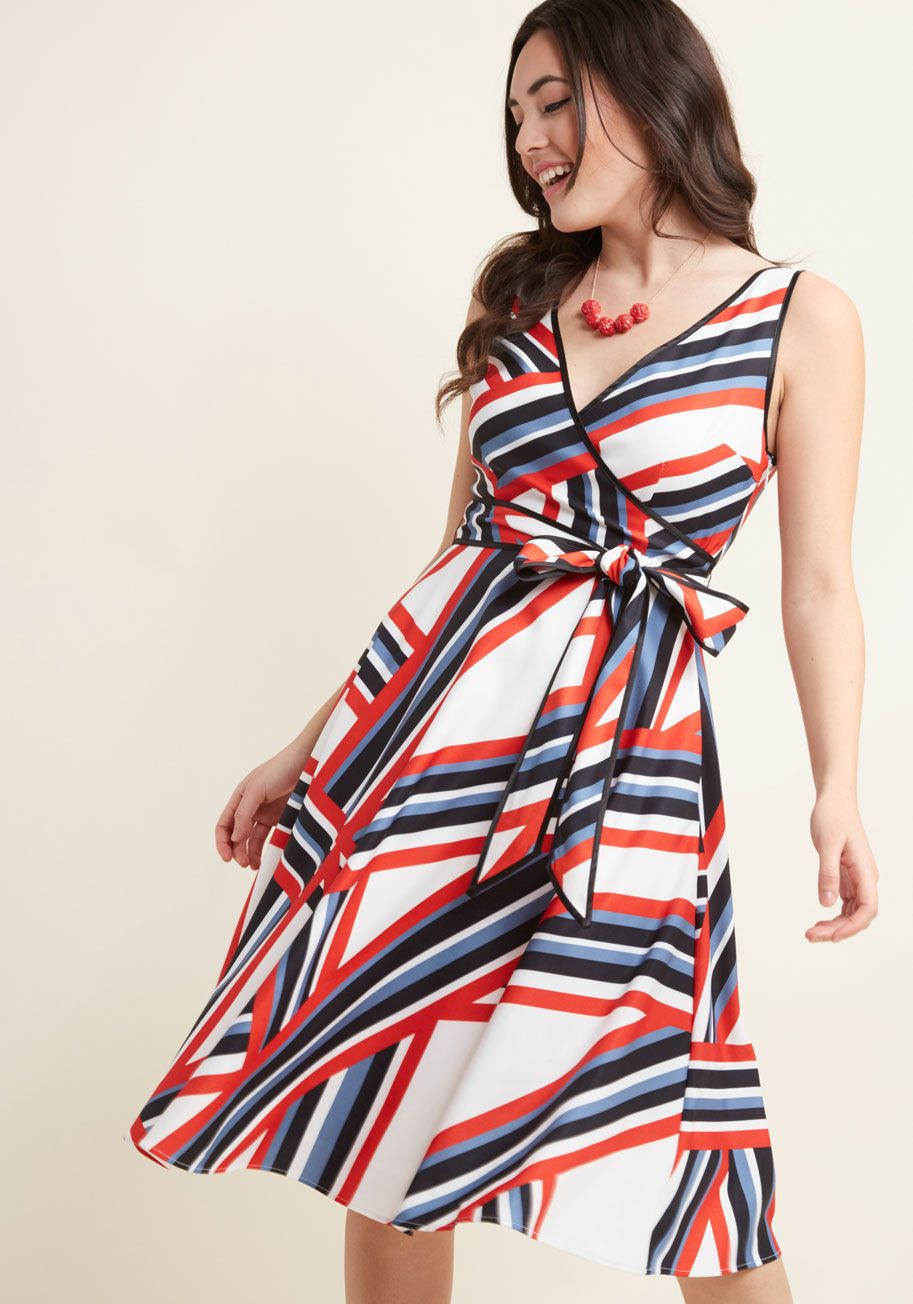 3ddbb12f6947 Ensemble Advisor Striped Wrap Dress - Your colleagues know they can rely on  you for the best tips, including incredible outfits for the office!