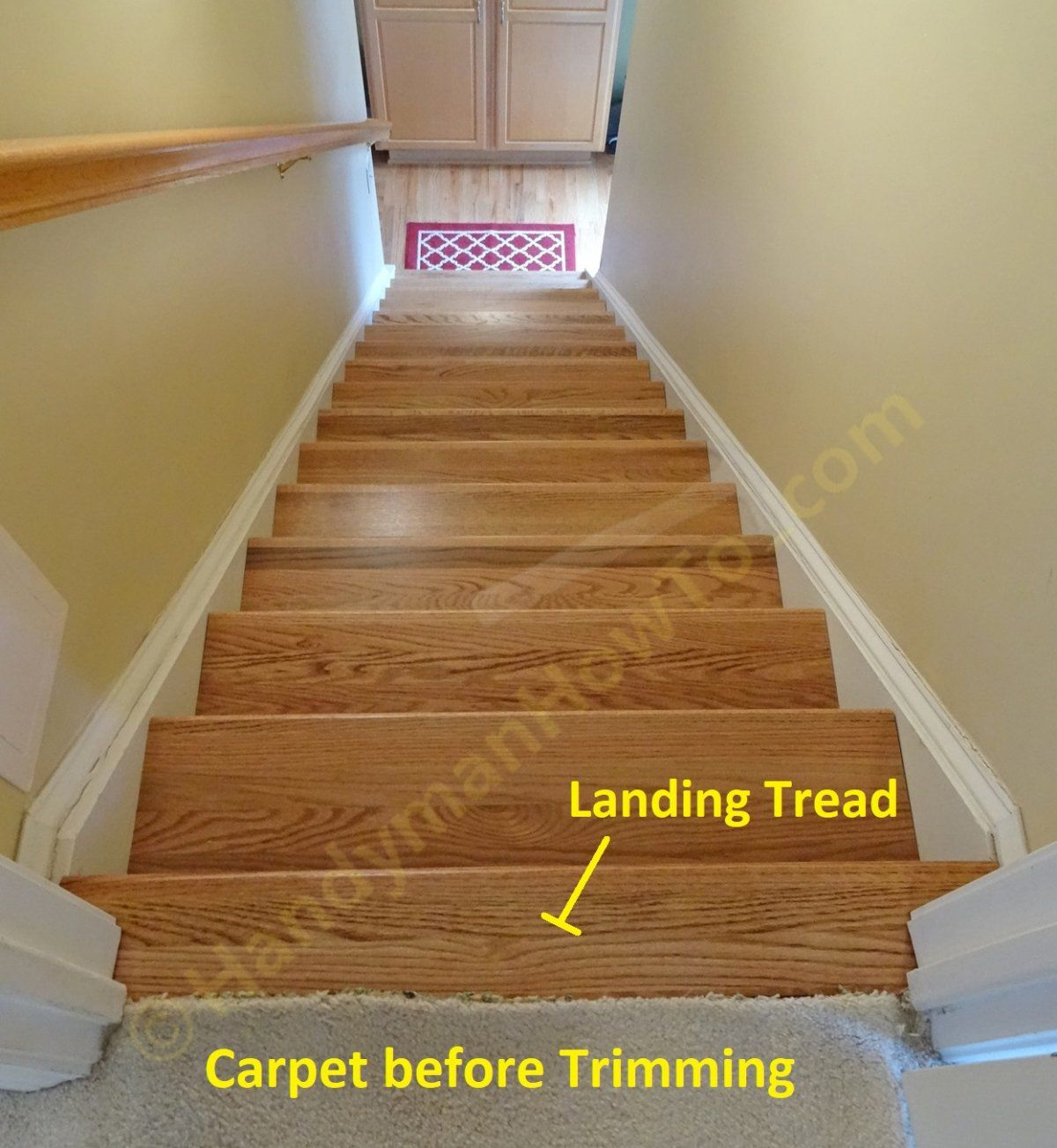 Young Retrotread Installation Carpet Fitting At Stair Landing | Cost To Re Carpet Stairs And Landing | Berber Carpet | Stair Runner | Stair Nosing | Laminate Flooring | Des Kelly