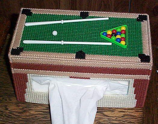 Handmade Plastic Canvas Tissue Box Cover Billiards Pool