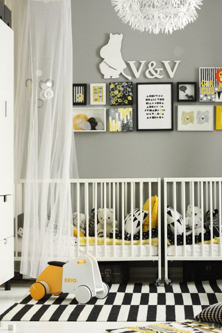 Black White Yellow Modern Twin Nursery Kid Room Decor Nursery