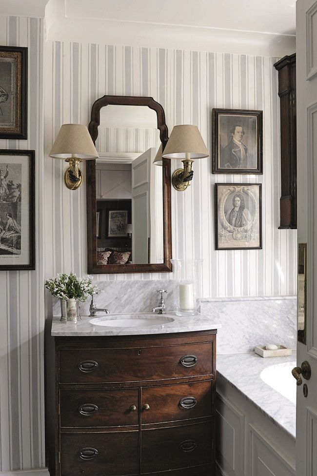 Photo of Bathroom Vanity INCREDIBLY GORGEOUS, I LOVE THE STRIPED WALLPAPER, WITH THE DARK… – 2019 – Bathroom Diy