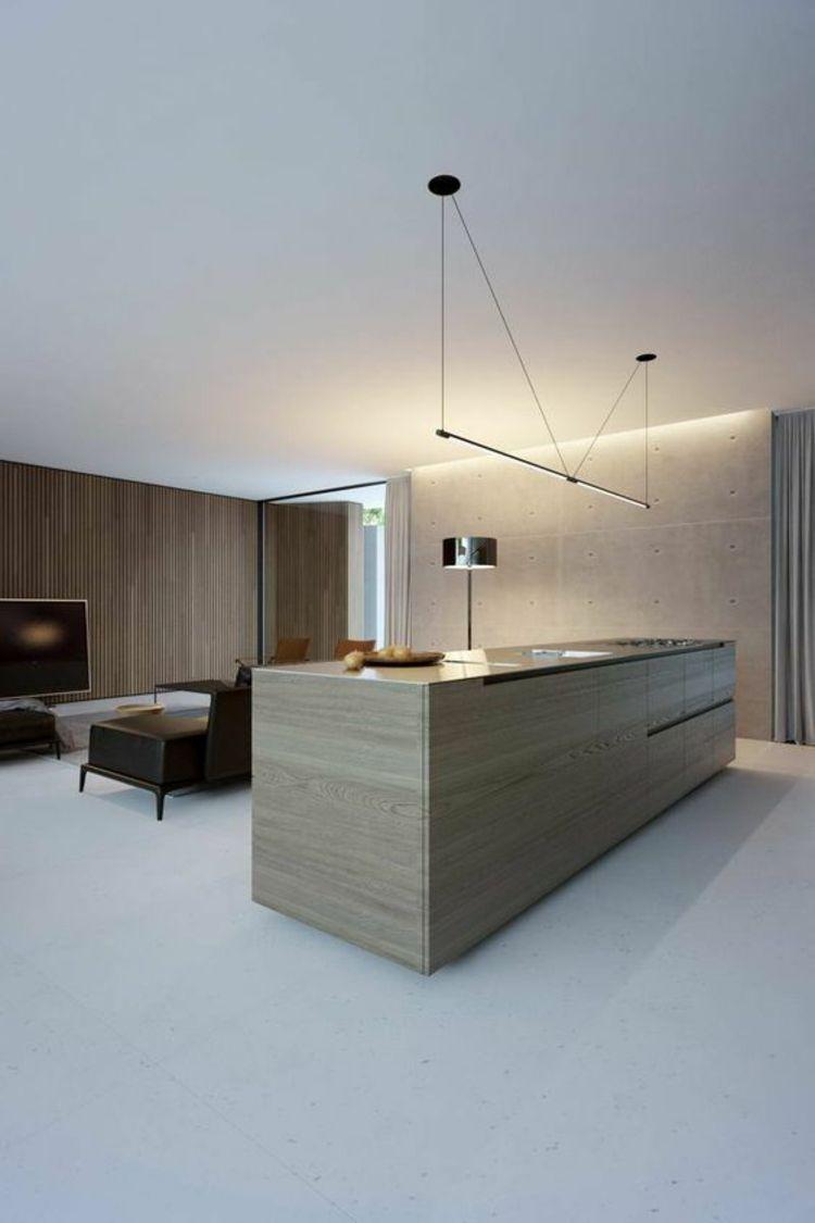 nice indirekte Beleuchtung Decke offener Wohnraum Kücheninsel ...