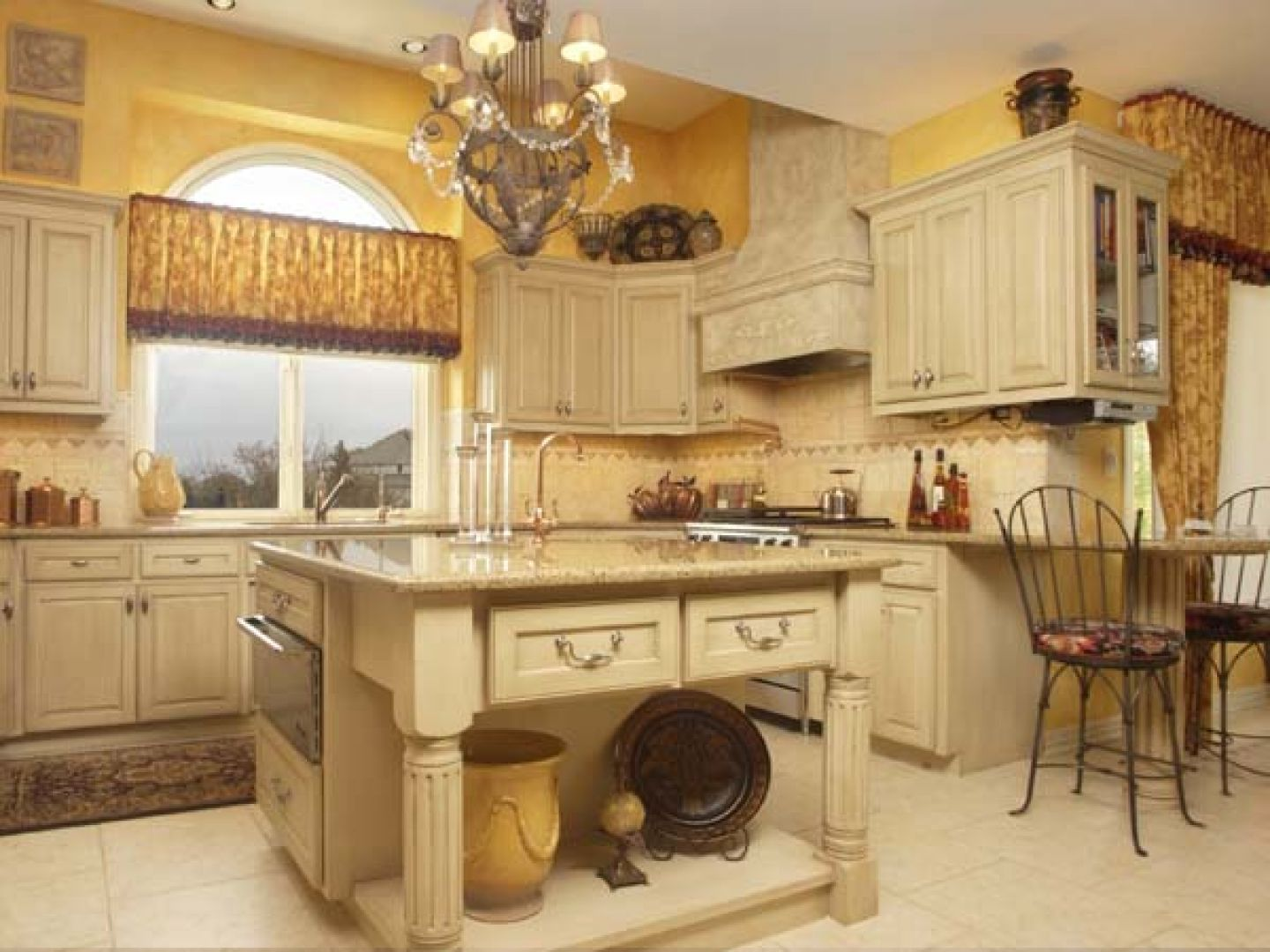 Tuscany kitchen would change wall color with - Country style kitchen cabinets design ...