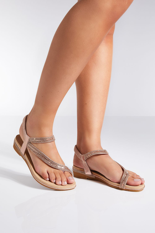 De Quiz Rosa Clothing Tiras Oro Planas Sandalias DI9EH2