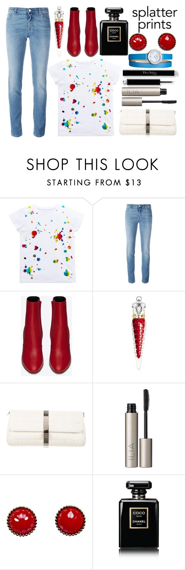 """""""Splatter Paint T-Shirt"""" by princess13inred ❤ liked on Polyvore featuring Givenchy, Yves Saint Laurent, Christian Louboutin, Chanel, Ilia and Baume & Mercier"""