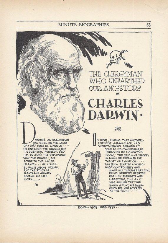 Charles Darwin Vintage Art Print Evolution Scientist