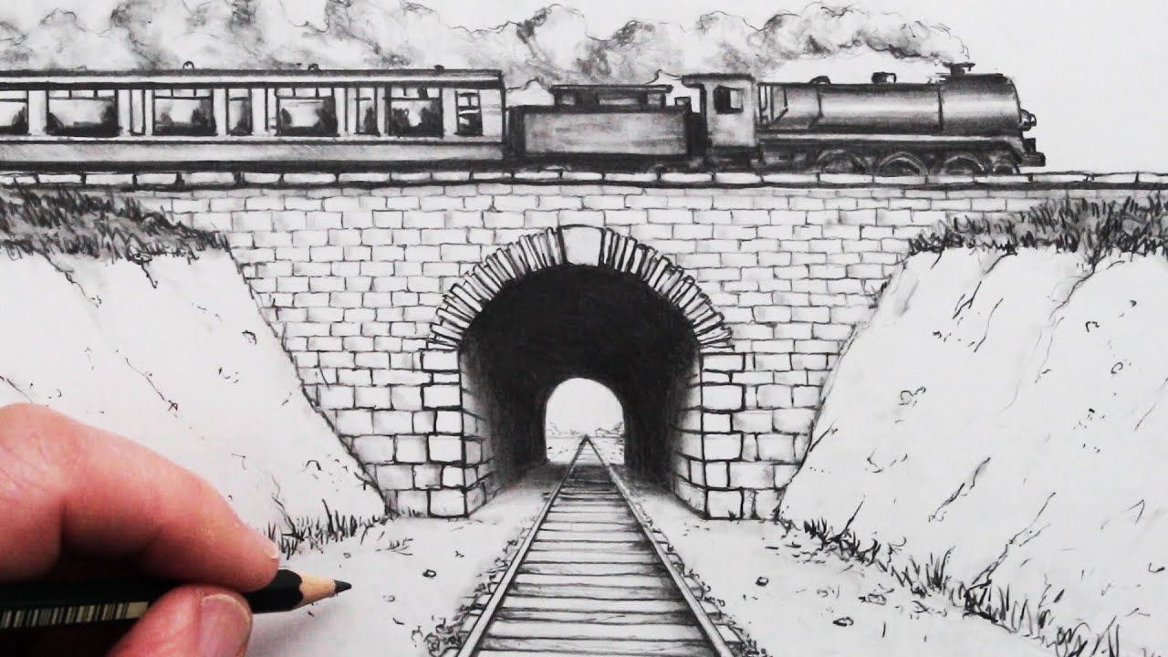 How To Draw Using 1 Point Perspective Train Track And Tunnel In