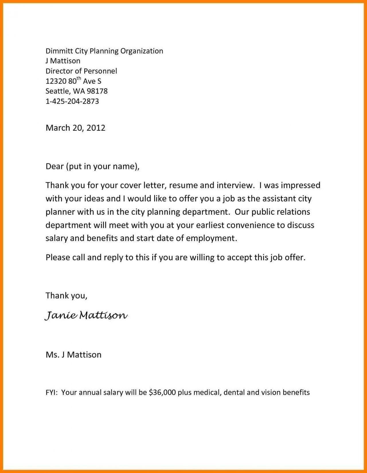 Inspirational Sample Letter Turning Down A Job Offer