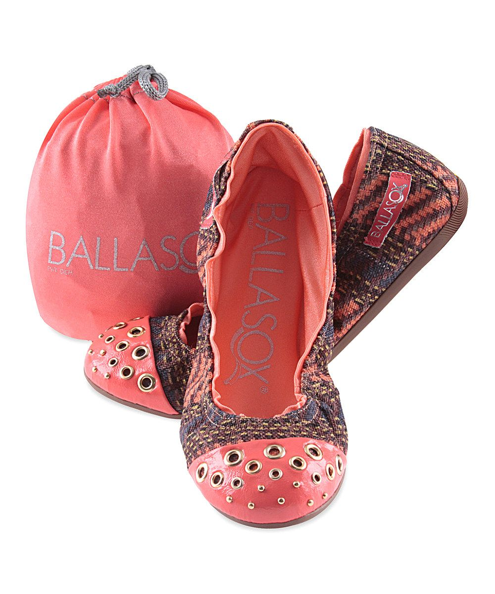 Look what I found on #zulily! Brown & Coral Abstract Harmonia Leather Ballet Flat by Ballasox #zulilyfinds