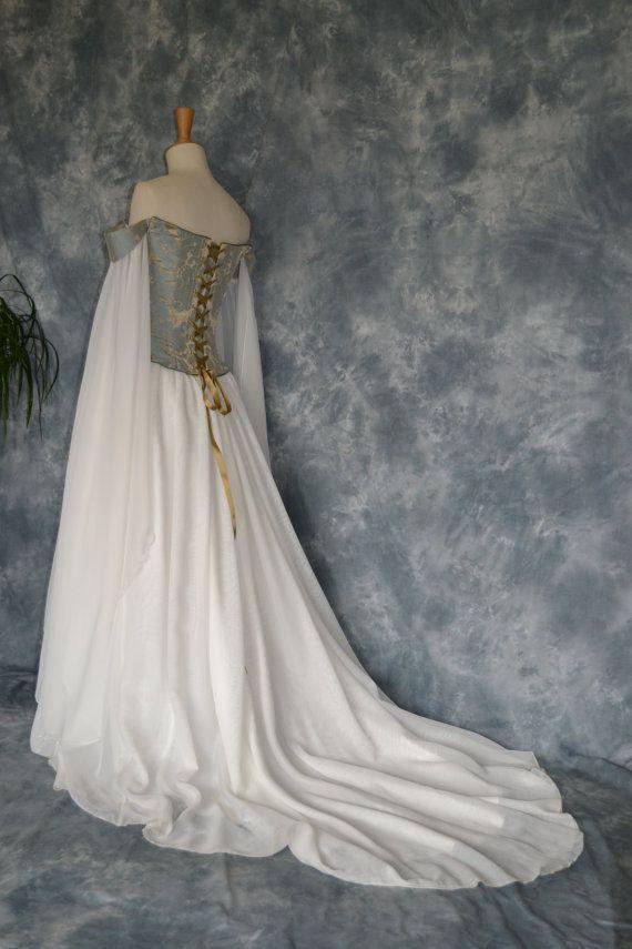 Medieval Wedding Dress,Elvish Gown,Renaissance Dress,Corseted ...