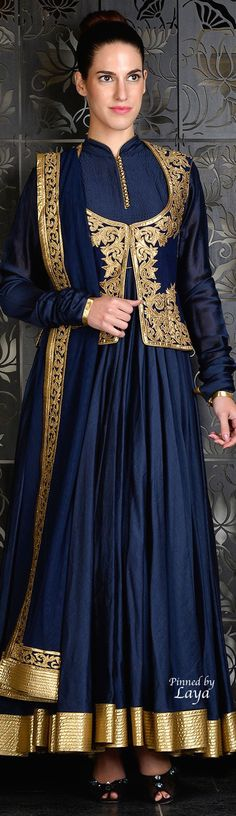 Blue jacket style anarkali with golden embroidery.