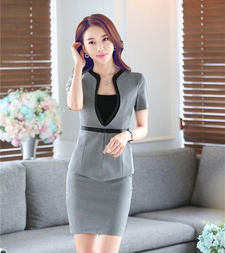 summer formal grey blazer women skirt suits jacket sets