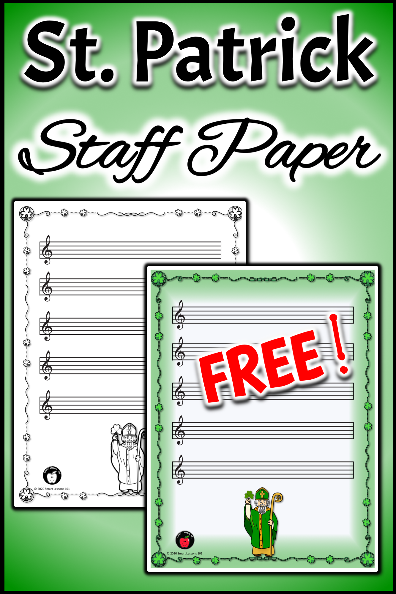 Free St Patrick Staff Paper Music Worksheets Free
