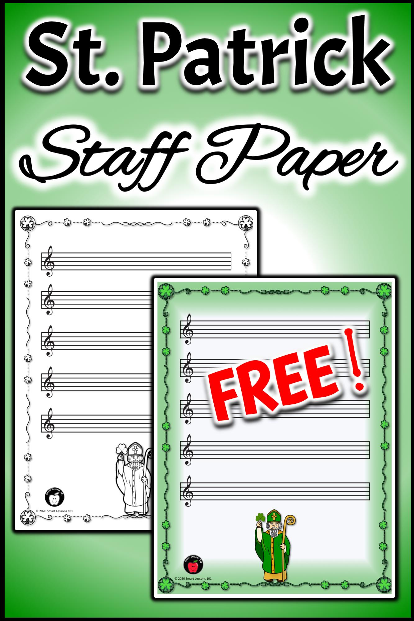 Free St Patrick Staff Paper Music Worksheets Free
