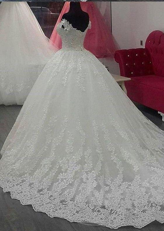 Schlichte Brautkleider Weiß Mit Spitze A Linie ...