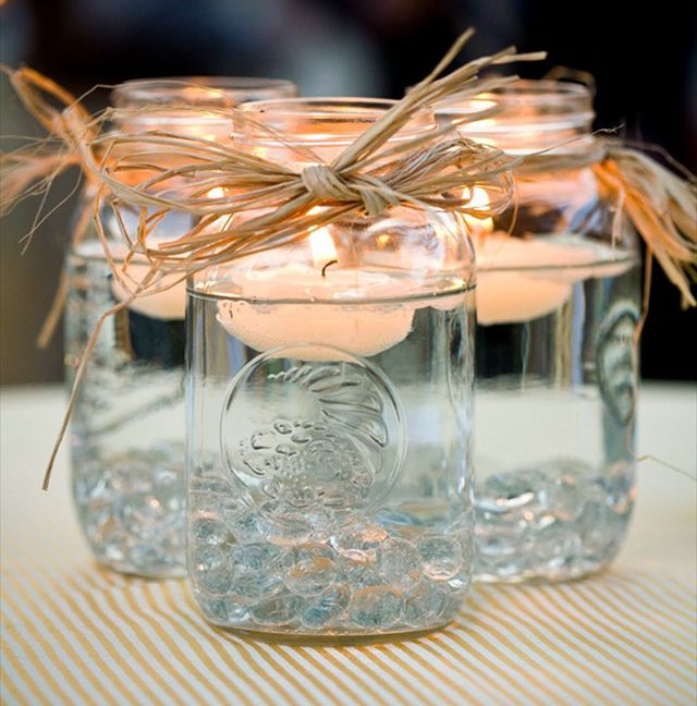 Simple...i like Image detail for -diy mason jar candle holders source emmaline bride