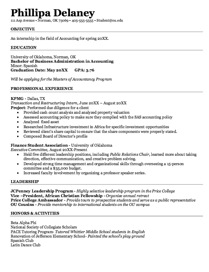 Public Accounting Resume Samples Examples Resume Cv