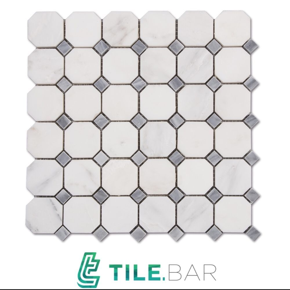 10sqft Carrera Marble White 2 Octagon Gray Dot Mosaic Tile Bathroom Floor Wall Tilebar