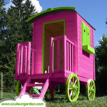 Maison roulotte enfant bois naturel couleur garden - Maison d enfant pour jardin ...