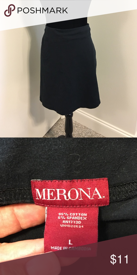 20%⬇️Black jersey knit skirt Black jersey knit skirt- great for weekend or travel wear! Super comfortable.   ☑️I ship same or next day!! Merona Skirts Midi