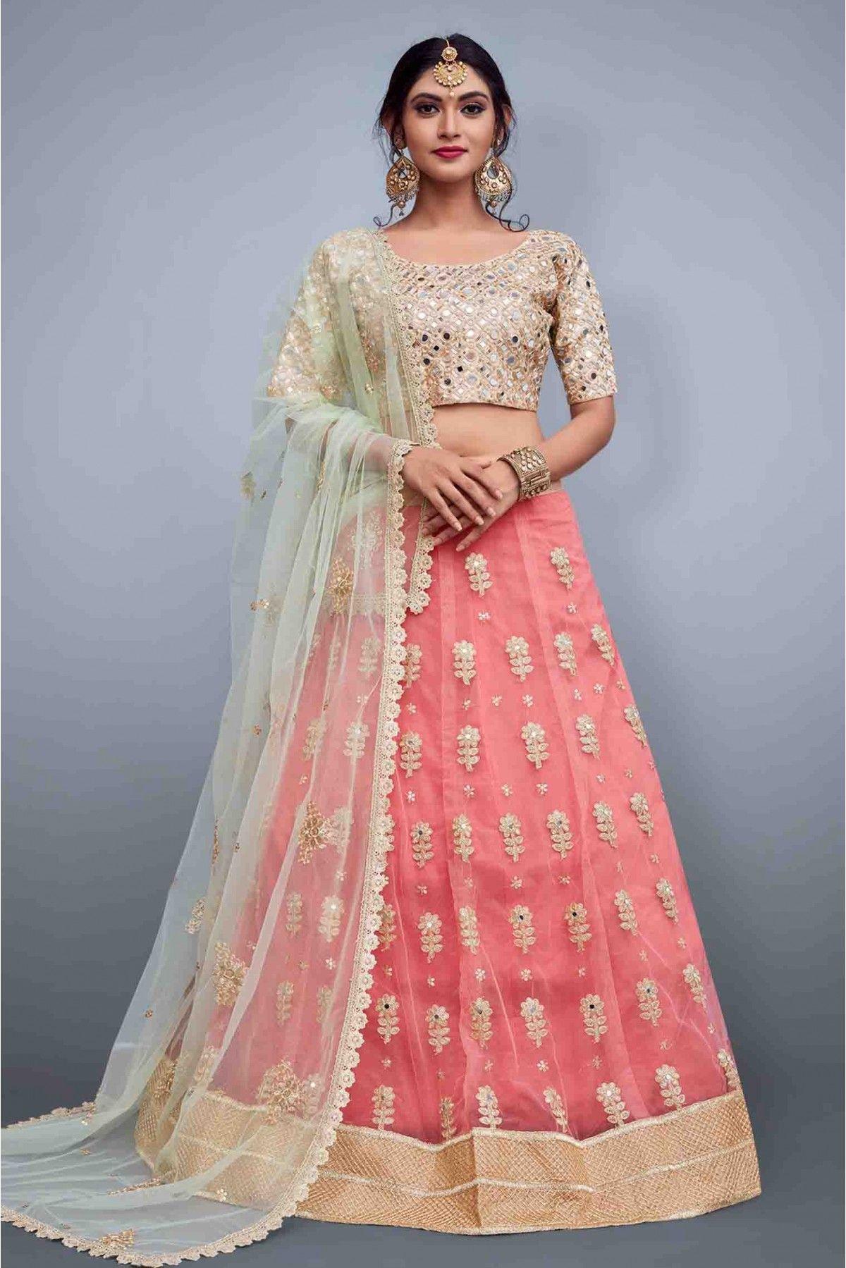 Mirror Embroidered Wedding Lehenga choli with jacket  Bridesmaids Lehenga  Lehengamall Lehenga choli