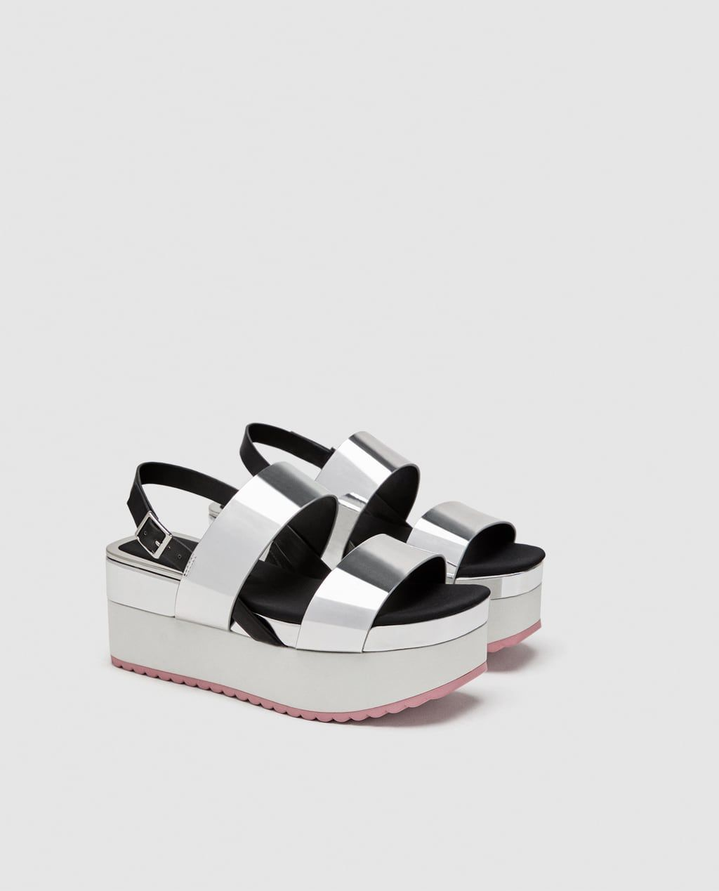 e4361cdc8c92 FLATFORM SANDALS WITH SILVER STRAPS-View all-SHOES-WOMAN