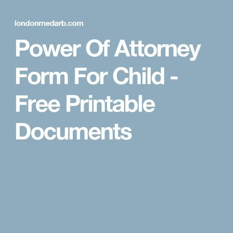 Power Of Attorney Form For Child  Free Printable Documents
