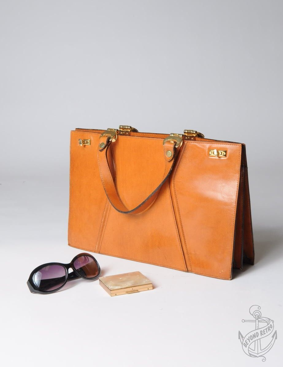 Vintage Clothing | Vintage Hand Held Bag Tobacco With Full Lining