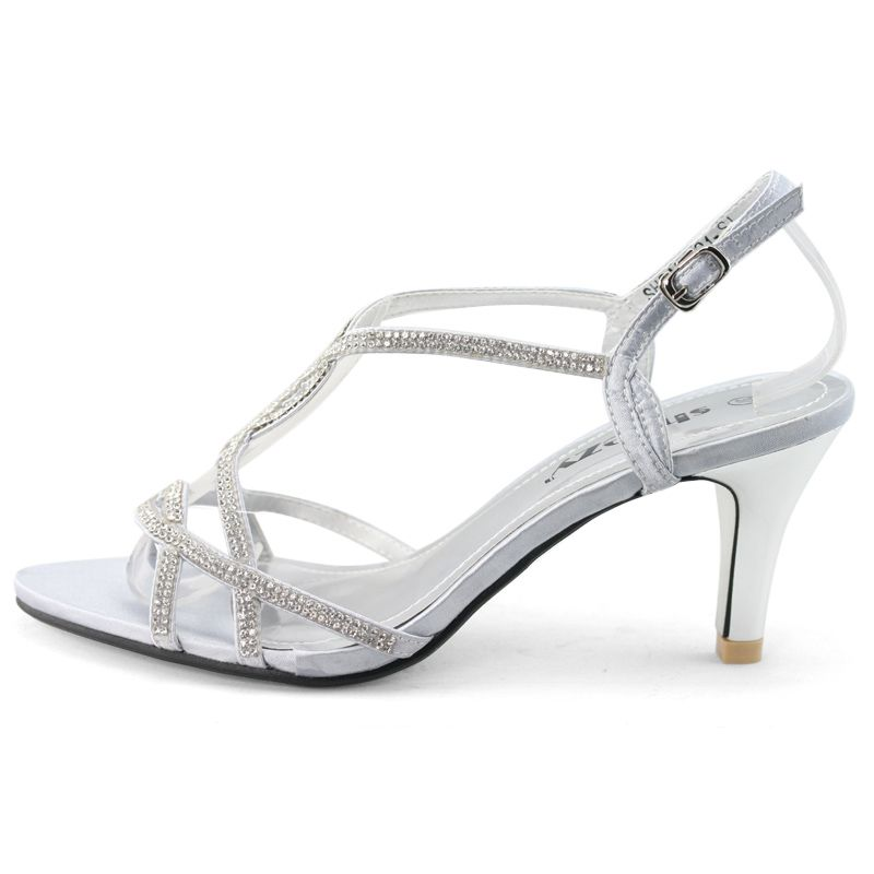 af14627e69f SHOEZY-Womens-Silver-Strappy-Diamond-Wedding-Party-Dress-Low-Kitten-Heels- Shoes
