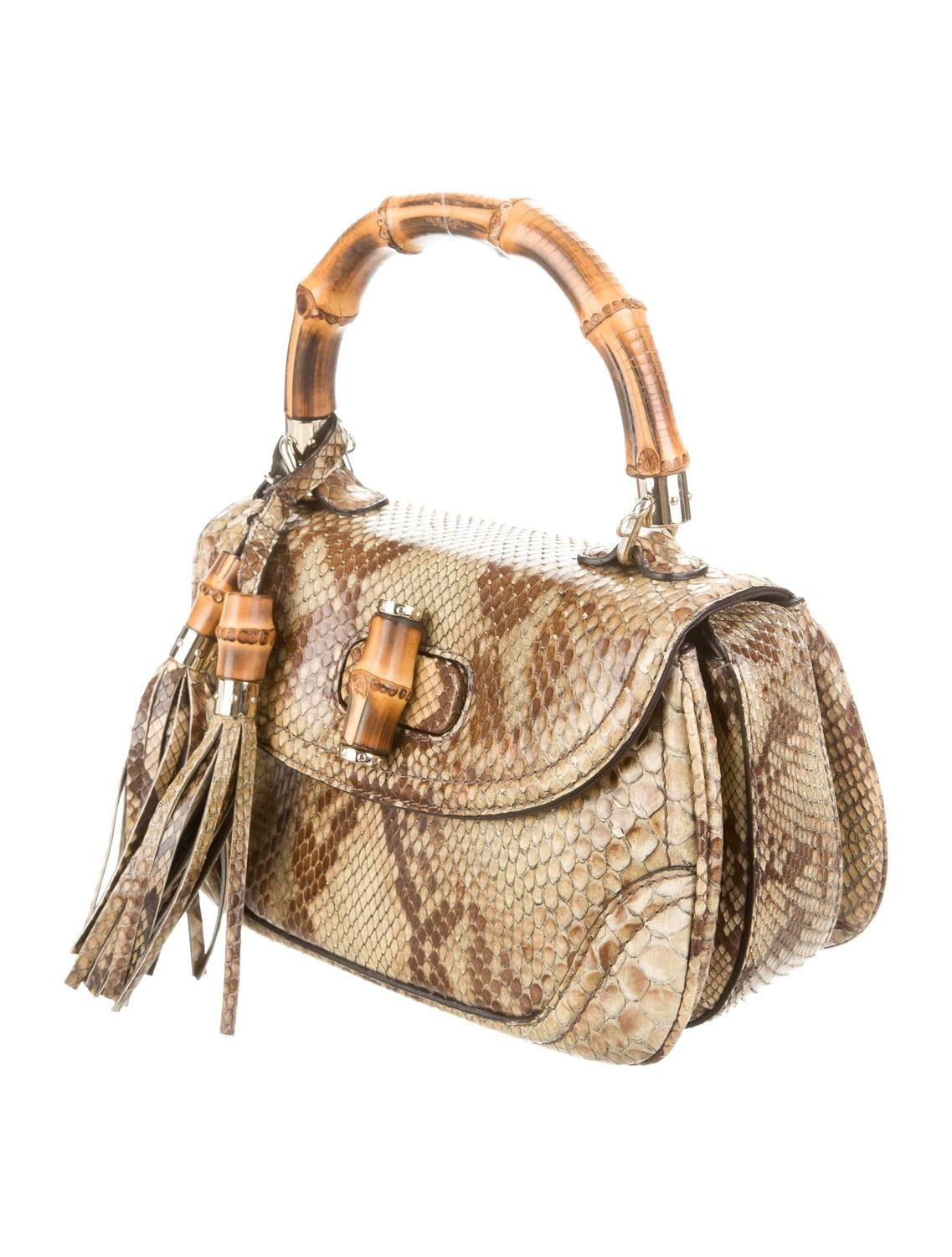 fbd6e11f2 Gucci Nude & Brown Python Snakeskin Bamboo Top Handle Flap Satchel  Shoulder Bag | From