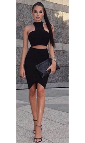 Two piece dresses bodycon black