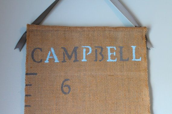 Custom hand painted burlap growth chart for baby or family. #babygift #babyshower #growthchart #handpainted #burlap