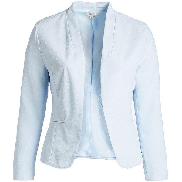 Blu Pepper Light Blue Blazer 1 710 Rub Liked On Polyvore Featuring Plus Size Women S Fashion Plus Size Clothing Plus Size Outerwear Plus Size Jackets Pl