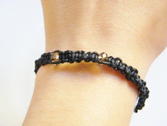 Black Cotton Bracelet Smokey Brown Crystal by LadyRebelDesigns, $20.00