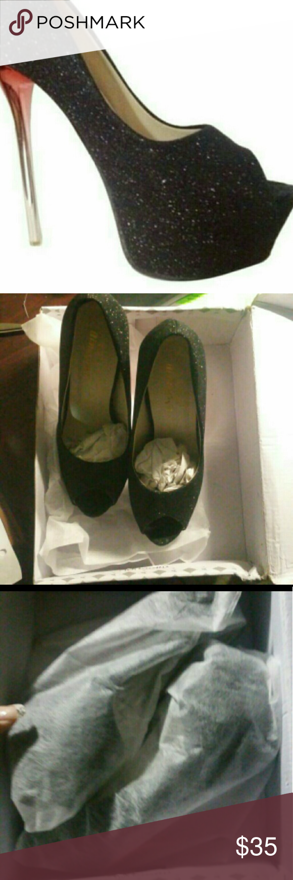 Amjy New in box Narrow fit size 6 Way to small don't ask for them to be model Cover photo is my photo please ask if you need to use it.  It was taken by me and the background professionally cleaned. 6 inch heel Black with Glitter heel is silver and red Shoes Platforms