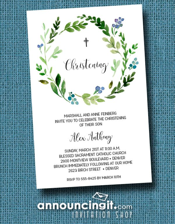 Blue Buds Wreath Baby Boy Christening Invitations