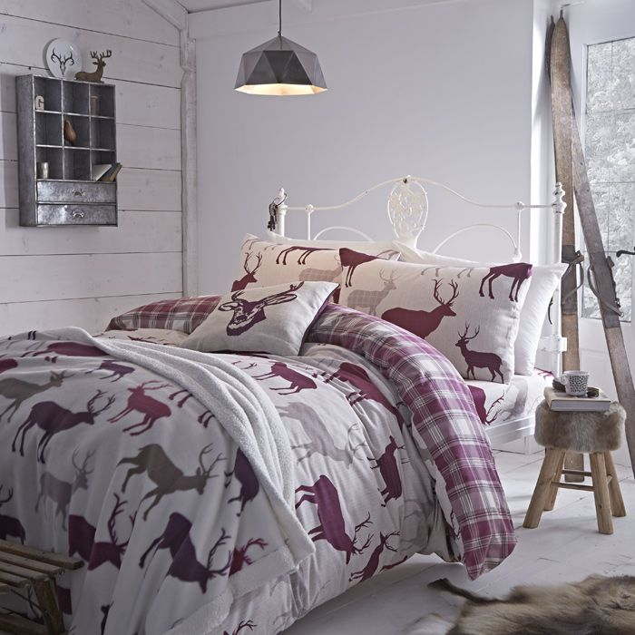 Winter Flannelette Grampian Stag Mulberry Warm Bed Linen Uk Bedding