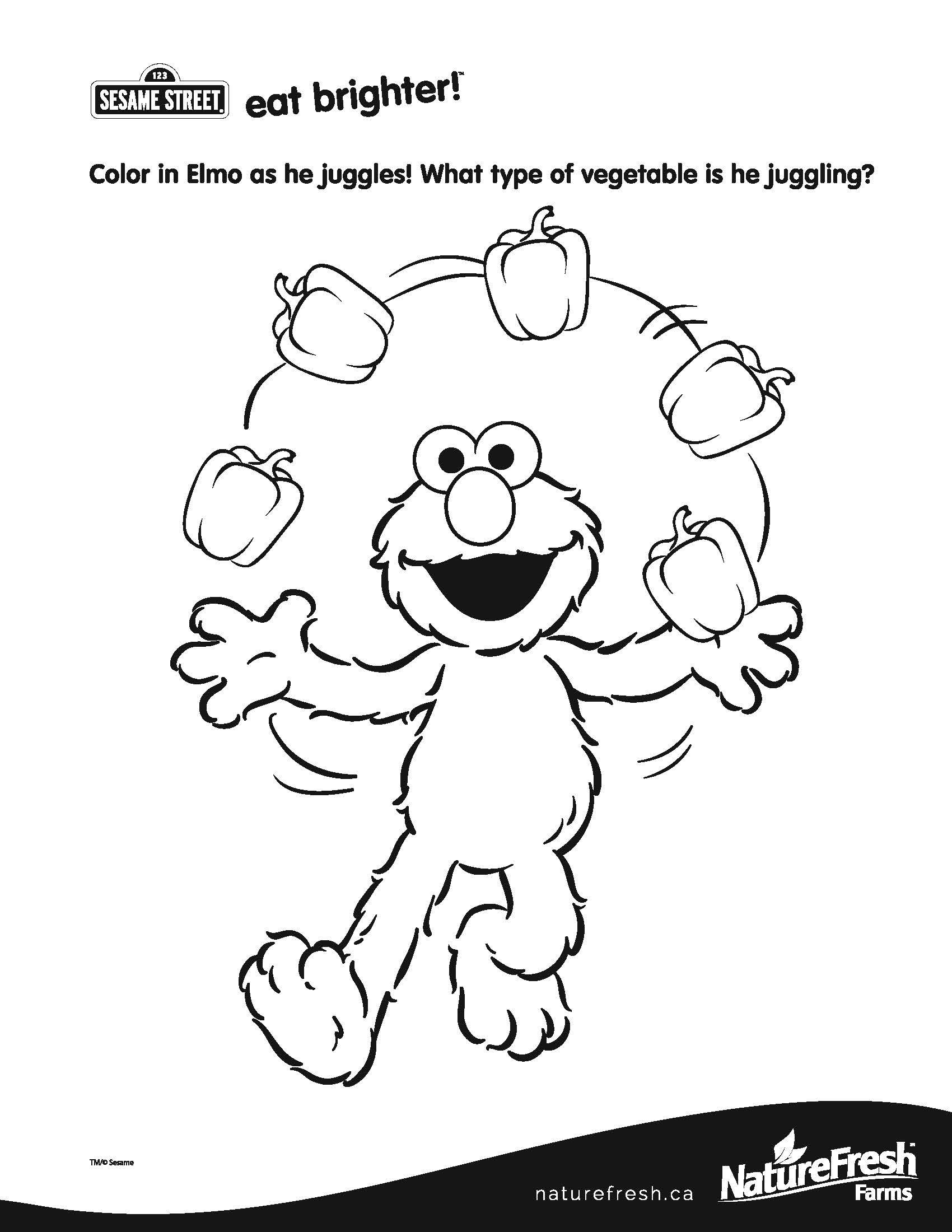 Color in Elmo as he juggles What type of ve able is he juggling