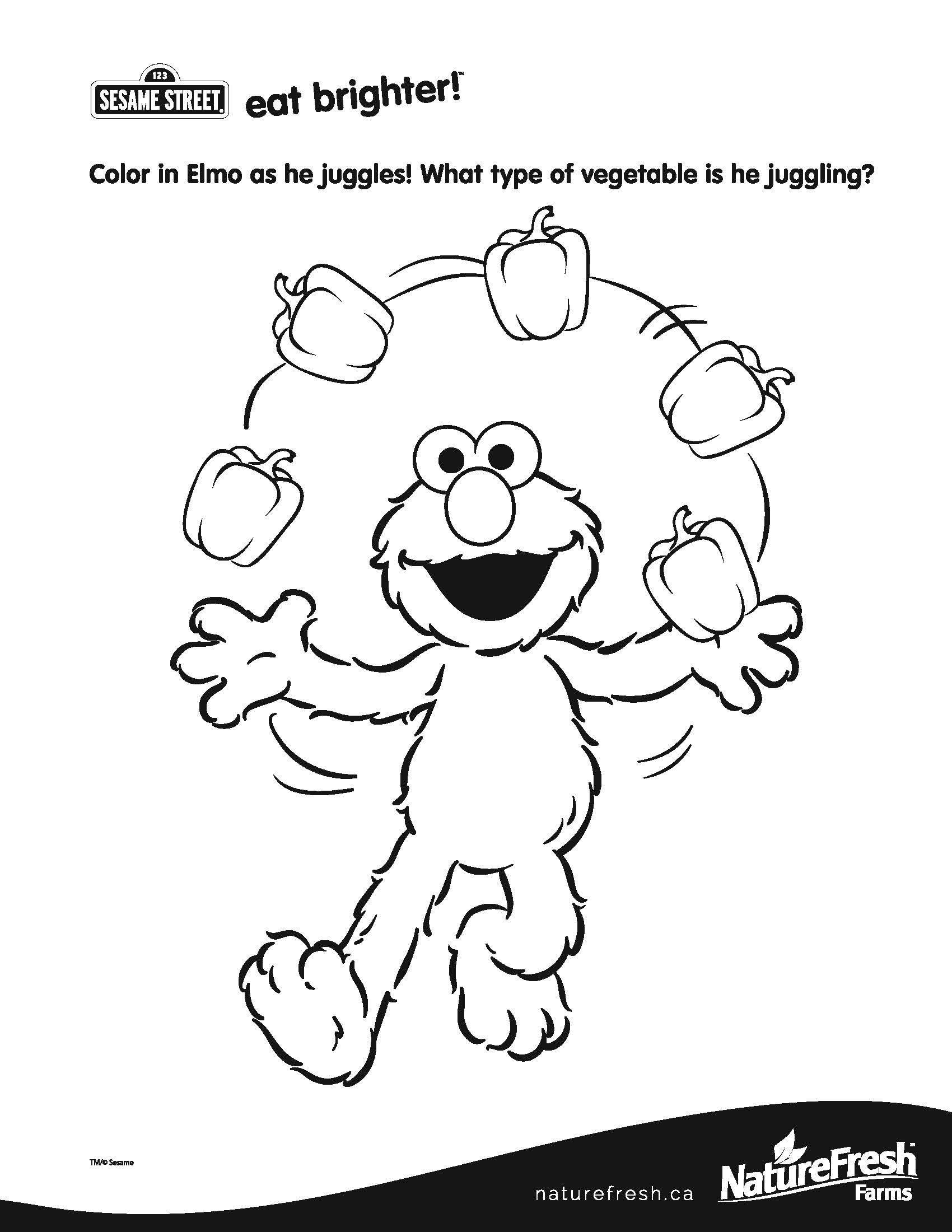 Color In Elmo As He Juggles What Type Of Vegetable Is He Juggling