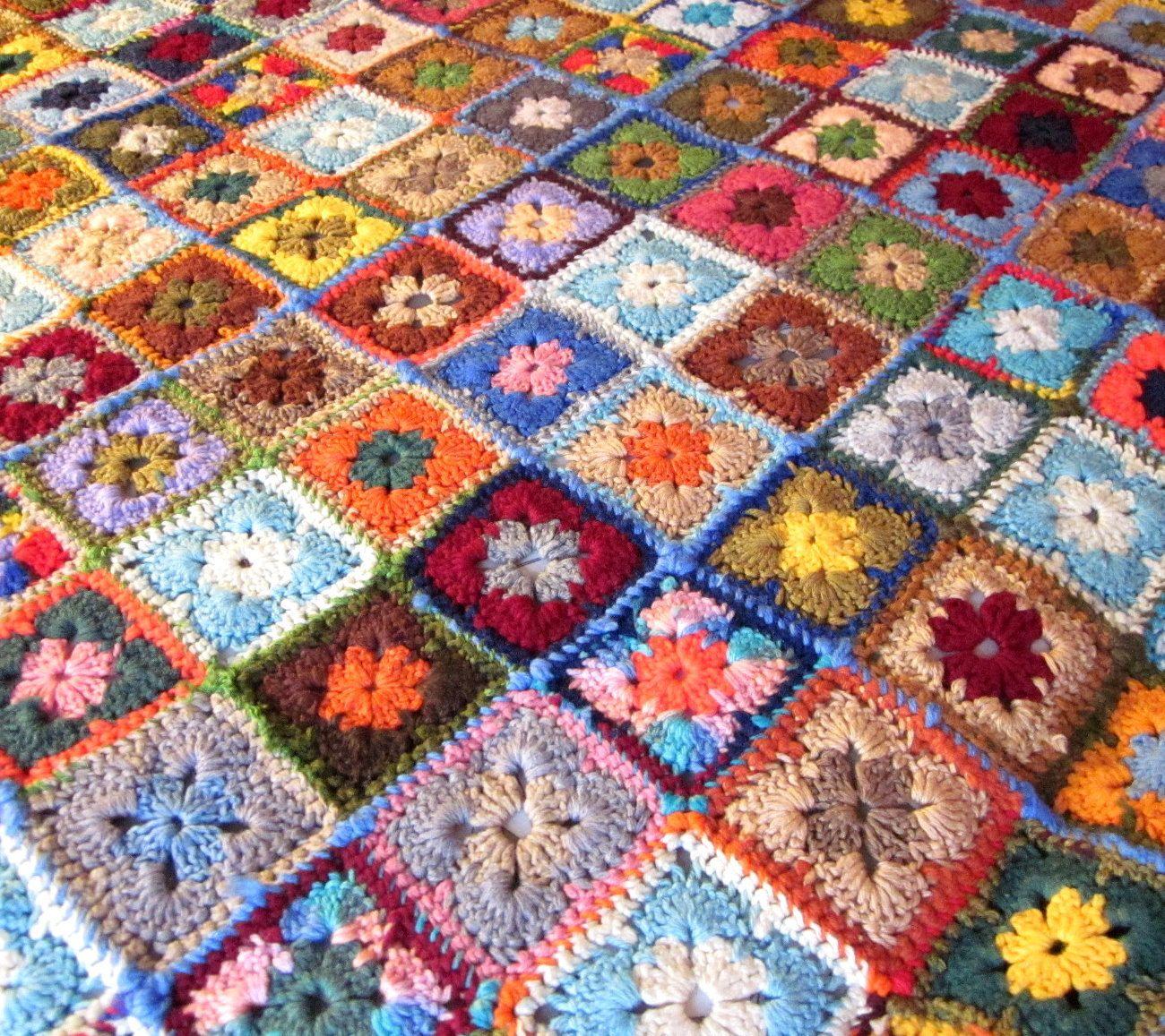 Vintage Afghan Blanket, Granny Square, Crochet Throw   Omas ...