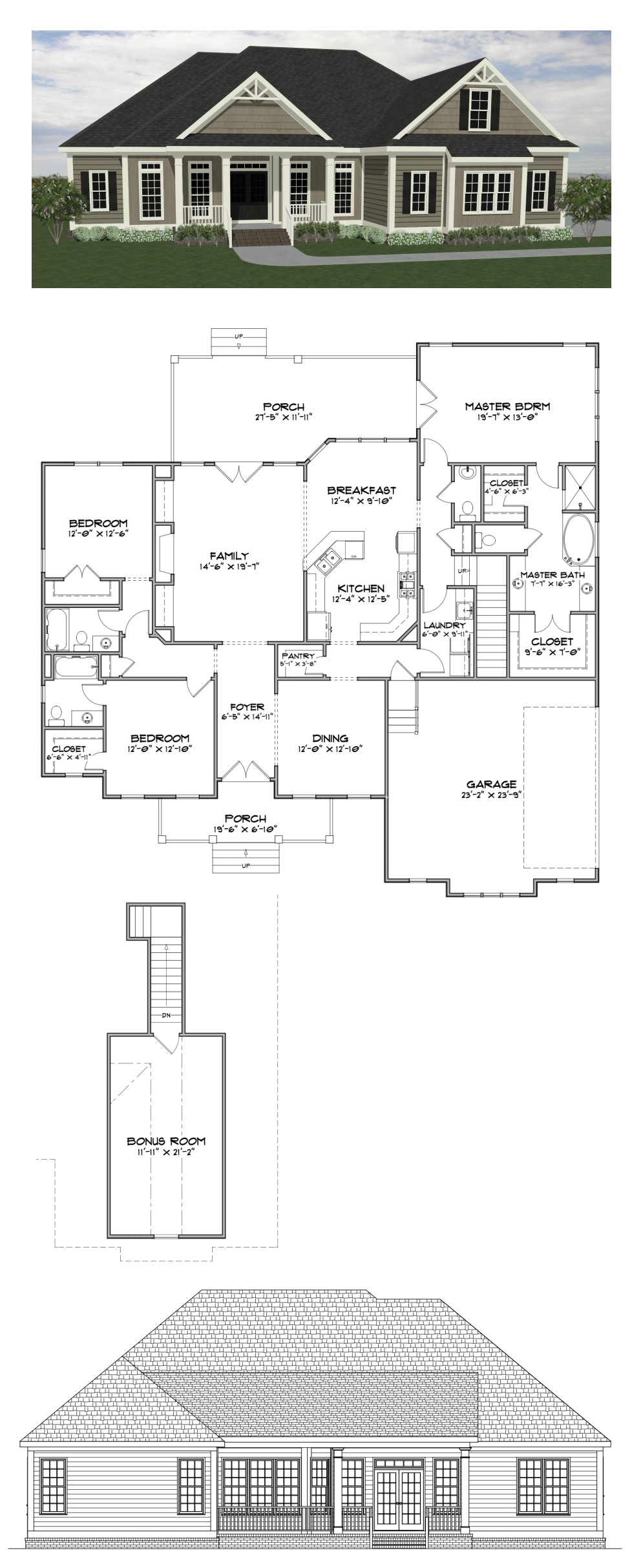 Plan SC 2282: ($770) 3 Bedroom 3.5 Bath Home With 2282 Heated Square Feet  (bonus Room Adds 279 Sf). This Home Plan Is One Of Our Most Popular Designs  And Is ...