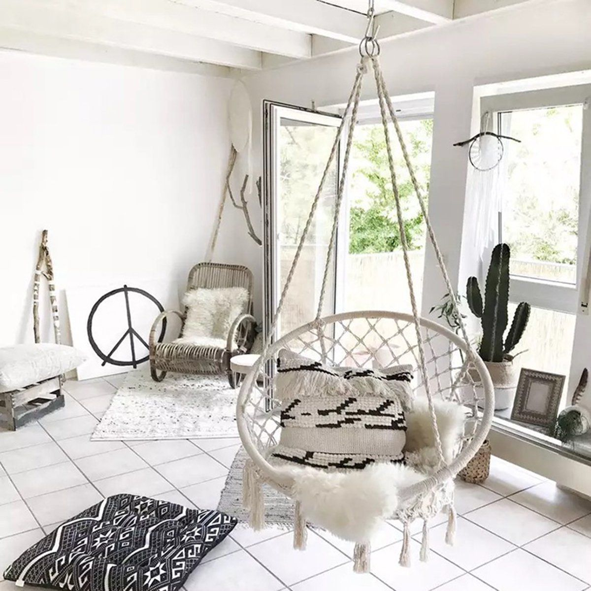 Hanging Hammock Chair Seat Mesh Woven Rope Macrame Wooden Bar Chair Swing Outdoor Home Garden Patio Install Tool Home Decor Christmas Gift Walmart Com In 2020 Swinging Chair Indoor Swing