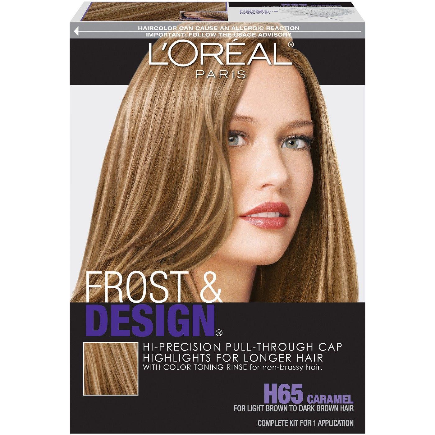 L Oreal Paris Frost Design Hi Precision Pull Through Cap Highlights H65 Caramel 1 Kit Long Hair Highlights Hair Highlights Box Hair Dye