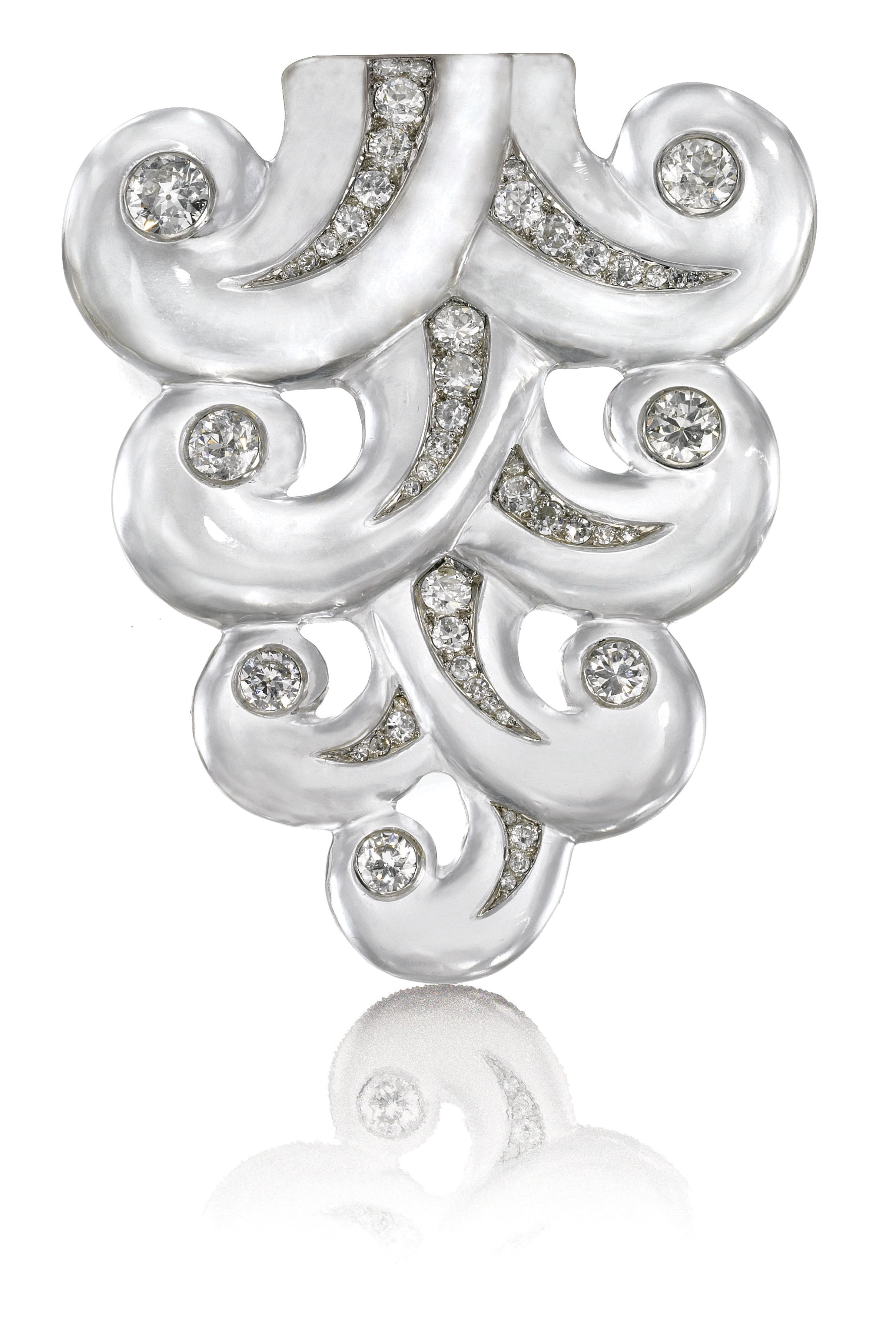 Rock Crystal and Diamond Brooch, Suzanne Belperron, 1932 - 1955. JEWELS FROM THE PERSONAL COLLECTION OF SUZANNE BELPERRON.